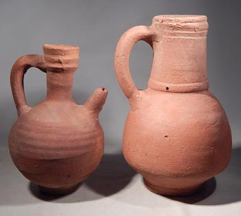 Medieval Persian Redware Pottery Pitcher Vessels