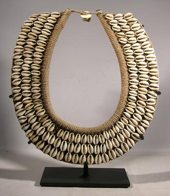 Papua New Guinea Cowry Shell Necklace Custom Display Stand - Front