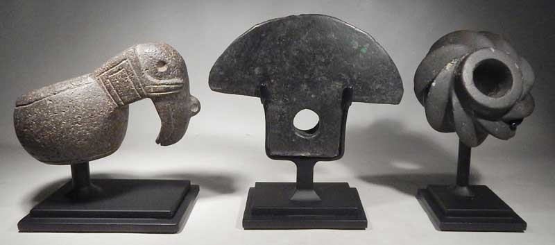 Pre-Columbian Weapons, Costa Rican Stone Mace Head, Ince Copper Axe Head, Chavin Stone Mace head Custom Display Stands Mounts