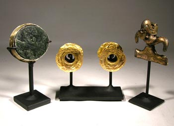 Pre Columbian Gold Custom Display Stands - Front