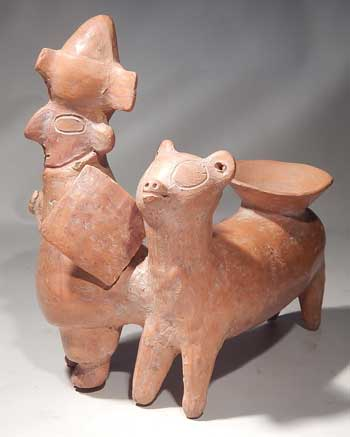 Pre-Columbian Peru, Warrior with Llama Figure & Vessel
