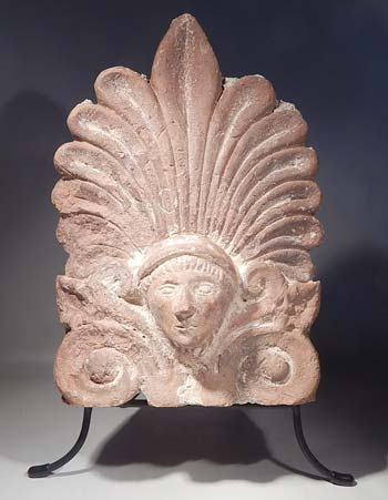 Roman Antefix Pottery Roof Tile Custom Display Stand (front).