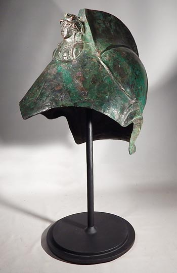 Roman Cavalry Parade helmet with a bust of Minerva Custom Display Stand