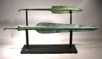 Roman Bronze Spear Heads Custom Display Stand - Front