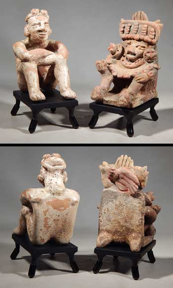West Mexican Seated Shaman Figures with Peyote Michoacan Jalisco