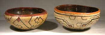 Two Shipibo Miniature Pottery Bowls