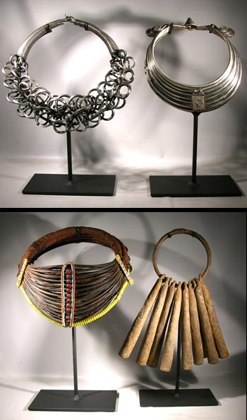 Chinese Miao Silver Nacklace, Samburu Collar and Iron Bells Custom Display Stands