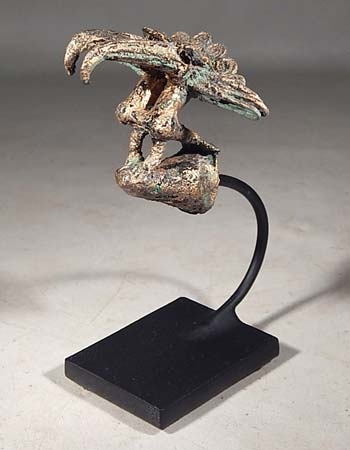 Ancient Sinu Tumbaga Bird Staff Finial Custom Display Stand (back).