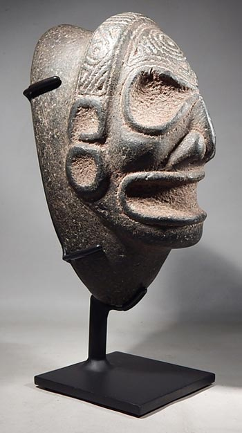 Pre-Columbian Taino Indian Anthropomorphic (skull form) CarveStoneThree-pointer Custom Display Stand. (front)
