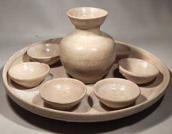 Chinese Tang Dynasty Terracotta Pottery Wine Service Set