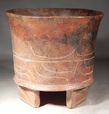 Ancient Mexico Teotihuacan Creamware Pottery Tripod Vessel