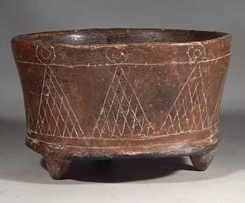 Pre-Columbian Ancient Mexico Teotihuacan Tripod Pottery Bowl Vessel