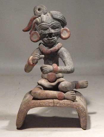 Pre-Columbian Teotihuacan Seated Old God Miniature Figure