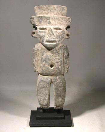 Ancient Pre-Columbian Teotihuacan Carved Stone Figure Custom Display Stand (front)