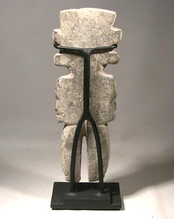 Ancient Pre-Columbian Teotihuacan Carved Stone Figure Custom Display Stand (back)