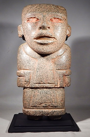 Teotihuacan Stone Standing Figure Ancient Mexico Custom Display Stand (front)