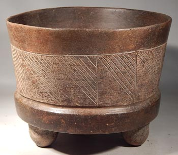 Ancient Mexico Teotihuacan Brownware Pottery Tripod Vessel