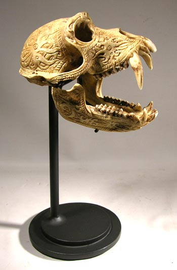 Tibetan Kapala - Carved Skull Custom Display Stand - Front