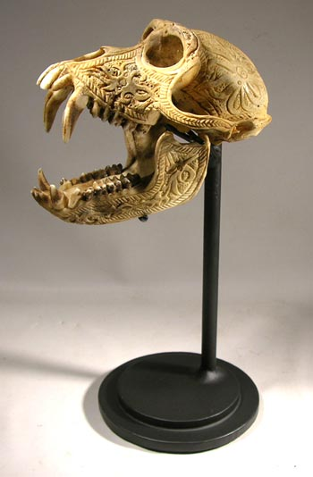 Tibetan Kapala - Carved Skull Custom Display Stand - Back