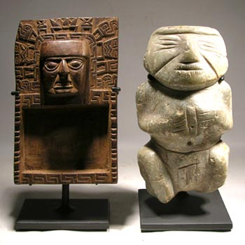 Tiwanaku Snuff Tray - Chontal - Guerrero Stone Figure Custom Display Stand - Front
