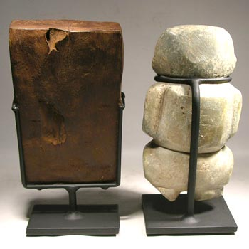 Tiwanaku Snuff Tray - Chontal - Guerrero Stone Figure Custom Display Stand - Back