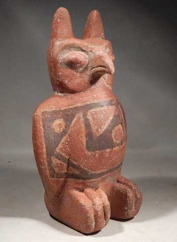 Pre-Columbian Bolivia Pottery Owl Figural Rattle