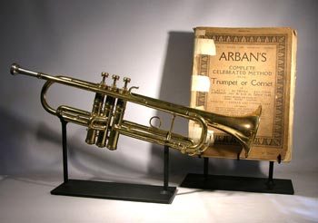 Antique Trumpet and Song Book Custom Display Stand - front