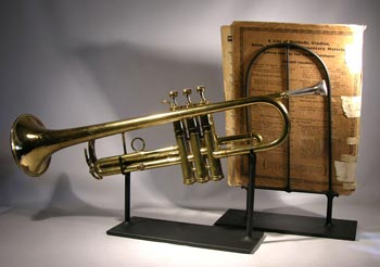 Antique Trumpet and Song Book Custom Display Stand - back