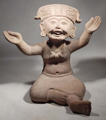 Ancient Veracruz Remojades Seated Sonriente Smiling Figure