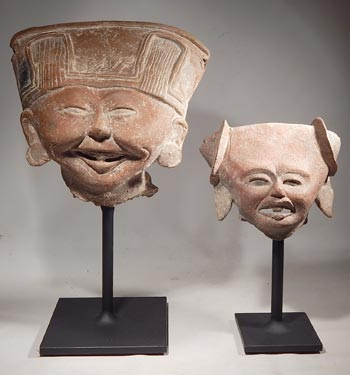 Pre-Columbian Vera Cruz Sonriente Head Fragments