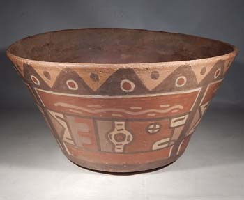 Wari Huari Pottery Polychrome Bird Bowl Vessel