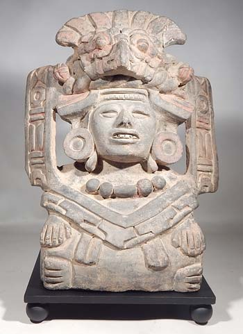 Ancient Monte Alban Zapotec Quetzal Urn Custom Platform Display (front).
